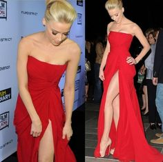 Discount 2014 Red Chiffon Pleated Ruffles Amber Heard Elie Saab Style Celebrity Dresses Strapless Backless High Side Slit Sexy Evening Prom Gowns Online with $81.99/Piece | DHgate