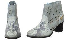 #Desigual Schuhe - Modell Chelsea Cris Jeans. Muster: ethnisch, exotisch und Mandala, blaugrau.