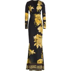 Roberto Cavalli Printed Floor-Length Dress (€765) ❤ liked on Polyvore featuring dresses, gowns, long dress, gold, v neck gown, long sleeve evening gowns, long dresses, long sleeve ball gowns and long-sleeve maxi dress
