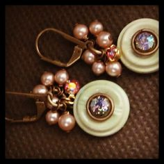 Vintage button and crystal earrings. $20. Find D. Wallace Designs on Facebook. #jewelry #fashion #vintage #style #trend
