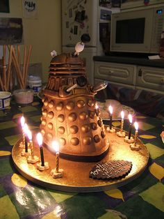 What could be cuter than a dalek made of cake and covered in chocolate?