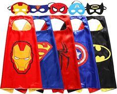 KOMODOMO Kids capes Cartoon Heros Dress Up Costumes 8 Satin Capes with Felt Masks