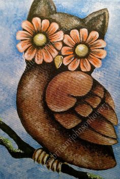 Acrylic on Canvas Owl Painting Print 11x17 by BHoweryCreations, $20.00