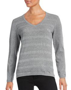 TOMMY HILFIGER Tommy HilfigerTextured Stripe V-Neck Sweater. #tommyhilfiger #cloth #