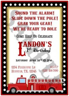 Cute wording for a fire truck party invite