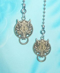 Fan light ceiling pull chain set of 2 pull chains home y set of two wolf head metal final fantasy custom ceiling fan pull chain aloadofball Choice Image