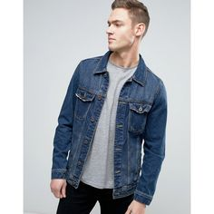 Pull&Bear Denim Jacket In Blue Wash (£30) ❤ liked on Polyvore featuring men's fashion, men's clothing, men's outerwear, men's jackets, blue, tall mens jackets, mens blue jean jackets, mens blue jacket and mens tall denim jacket