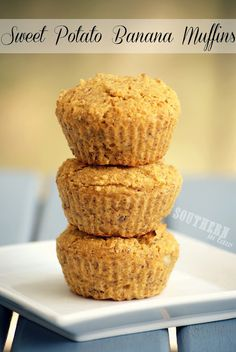 Healthy, Gluten Free, Low Fat, and Vegan Sweet Potato Banana Muffins