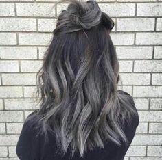 Dark Grey Hair | Ombre Hair | Tousled Lob