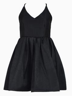 Strappy Open Back Skater Dress in Black