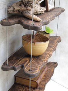 These unique, attractive, wall shelves have been designed with form and function in mind. The rustic driftwood-inspired feel of these shelves is Driftwood Shelf, Driftwood Furniture, Driftwood Projects, Driftwood Ideas, Wooden Decor, Wooden Diy, Diy Wood, Unique Furniture, Diy Furniture