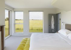 Architect Lucy Marston's Suffolk farmhouse is based on old farmhouses in the area, and incorporates traditional elements whilst still being modern. English Farmhouse, Steel Barns, Energy Efficient Homes, Old Farm Houses, Farmhouse Interior, Built Environment, Scandinavian Home, Mellow Yellow, Beautiful Bedrooms