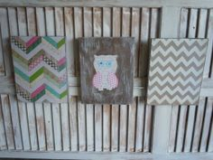 Wall Art/Girls Room/Chevron/set of 3 by thewoodedlane on Etsy, $25.00