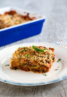 This delicious Low-Fat, Vegan Eggplant Parmesan is Soy-Free and Gluten-Free!