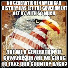 no generation in American history has let the government get by with so much. are we a generation of cowards or are we going to take our country back? I Love America, God Bless America, American Pride, American History, American Flag, American Freedom, American Soldiers, American Quotes, American Spirit