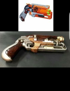 Made this steampunk pistol out of à Nerf gun Sherlock Cosplay, Steampunk Pistol, Fallout Cosplay, Cosplay Diy, Cosplay Ideas, Dieselpunk, Character Design Inspiration, Steampunk Fashion, Toys For Boys