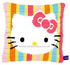 Hello Kitty Striped Long Stitch Cushion Front | tapestry kit on sewandso.co.uk