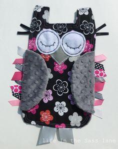 Minky Owl Ribbon Tag Blanket Baby Gift
