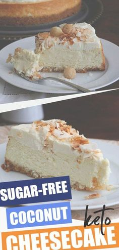 Aloha, my friends! This rich keto coconut cheesecake recipe is deliciously cream… Aloha, my friends! This rich keto coconut cheesecake recipe is deliciously creamy, with the tropical flavors of coconut and macadamia nuts. A perfect sugar-free dessert! Coconut Cheesecake, Low Carb Cheesecake, Cheesecake Recipes, Dessert Recipes, Sugar Free Cheesecake Recipe Stevia, Lime Cheesecake, Sugar Free Desserts, Sugar Free Recipes, Low Carb Desserts