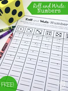 These number practice pages are so cute and fun for kids! It's especially fun if you let kids use giant foam dice. There are also other fun handwriting tips for kids, too! This makes a great math activity for preschool and kindergarten Numbers Kindergarten, Numbers Preschool, Math Numbers, Teaching Kindergarten, Kindergarten Math Stations, April Preschool, Decomposing Numbers, Math For Kids, Fun Math
