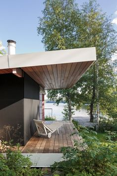 covered deck of modern home