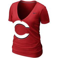 Nike Cincinnati Reds Deep V Burnout Shirt