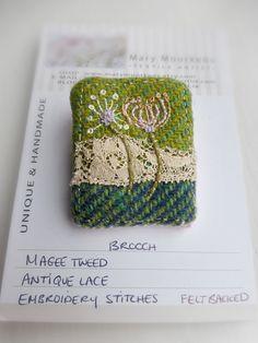 Tweed brooch Irish tweed brooch Embroidered Brooch tweed