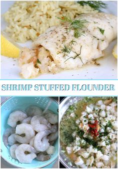Delicious Shrimp Stuffed Flounder is easy and complany-special. Filled with sauteed veggies and seasonings, it is a favorite fish dinner entree. Stuffed Flounder, Baked Flounder, Flounder Recipes, Fish Recipes, Seafood Recipes, Cooking Recipes, Healthy Recipes, Cooking Ideas, Healthy Meals