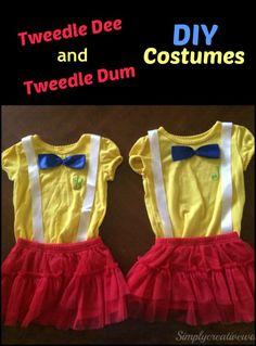 Easy to make DIY Tweedle Dee and Tweedle Dum costumes.