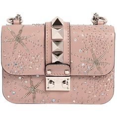 Valentino Women Mini Lock Embellished Leather Bag ($2,830) ❤ liked on Polyvore featuring bags, handbags, shoulder bags, bags valentino, valentino bag, powder pink, shoulder handbags, pink leather purse, leather man bags and leather handbags