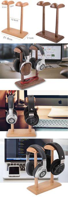 Wooden Headphone Headset Earphone Stand Holder Hanger Holder Cable Cord Organizer Wooden Headphone Stand Holder for Earphone Headset