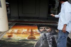 Drawing of pirate wins at Chalk Walk Art Festival
