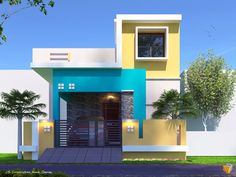 House Front Wall Design, Single Floor House Design, House Outside Design, Bungalow House Design, Small House Design, Modern House Design, Door Design, West Facing House, House Elevation