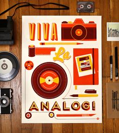 Viva La Analog Print by Knifemen // This is totally where I'm going. Overhead projectors, vinyl and 35 mm cameras.