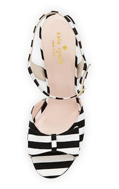 Kate Spade black and white stripe wedge with bow