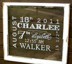 Great for kids room - old window with birth stats