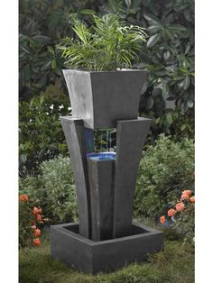 A Far Cry From Classical, The Modern Shape Water Fountain With Planter Is A  Uniquely