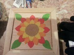 Sunflower sand painted jewelry box