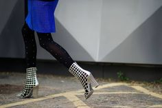 London street style.  Jessica Mort.  Silver cage booties.