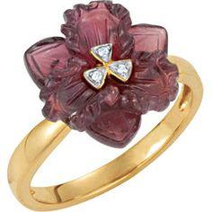 Genuine Brazilian Garnet & Diamond Ring