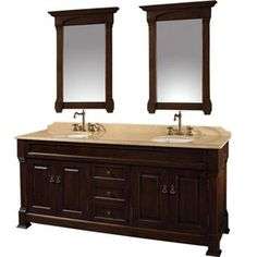 """Check out the Wyndham Collection WC-TD72DkCh-TI Andover 72"""" Floor Standing Double Vanity Set in Dark Cherry with Ivory Top - Vanity Top Included priced at $1,999.00 at Homeclick.com."""