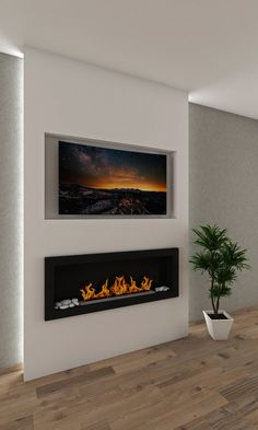 Wall Mounted Fireplace, Bedroom Fireplace, Tv In Bedroom, Home Fireplace, Fireplace Remodel, Living Room With Fireplace, Fireplace Design, Fireplace Ideas, Master Bedroom