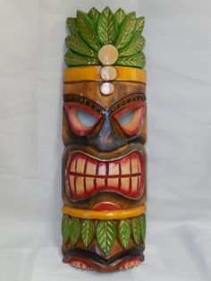 Wooden Tiki Head Drawing Coloured tiki mask dra...