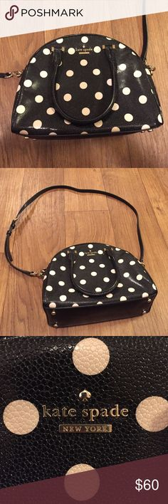 """Kate Spade New York Crossbody Hard Leather Used Kate Spade New York Crossbody! Made from a hard leather-like material with 4 gold """"feet"""" on bottom. Includes handles and detachable cross body strap. VERY clean interior! kate spade Bags Crossbody Bags"""