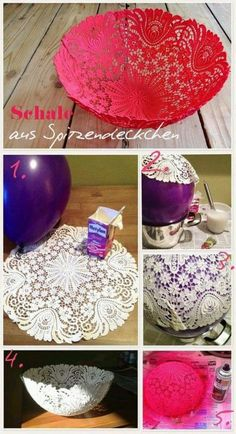 DIY your Christmas gifts this year with GLAMULET. they are compatible with Pandora bracelets. Basteln um zu Dekorieren - Schale aus Oma's Spitzendecken ganz leicht selber machen *** Great DIY Idea for old lace table cloth - Step pics (German) Kids Crafts, Cute Crafts, Creative Crafts, Diy And Crafts, Arts And Crafts, Paper Crafts, Diy Paper, Diy Projects To Try, Craft Projects
