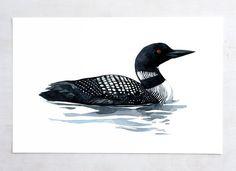 Loon Tattoo, Watercolor And Ink, Watercolor Paintings, Watercolors, Bird Silhouette Art, Bird Drawings, Pencil Drawings, Coastal Wall Art, Bird Prints
