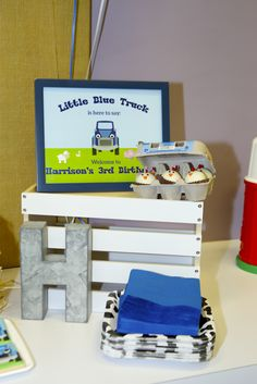 Little blue truck party ideas; little blue truck theme Blue Birthday, 3rd Birthday Parties, Birthday Cake For Men Easy, Little Blue Trucks, Birthday Photos, Birthday Ideas, First Birthdays, Party Ideas, Favor Tags