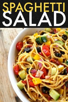 A fun unique and beautiful pasta salad recipe made with spaghetti noodles bursting with Italian flavor and flare that will become a quick favorite because its so easy to prepare! Spaghetti Salad, Spaghetti Recipes, Pasta Salad Recipes, Garlic Spaghetti, Noodle Recipes, Potato Recipes, Vegetarian Recipes, Cooking Recipes, Healthy Recipes