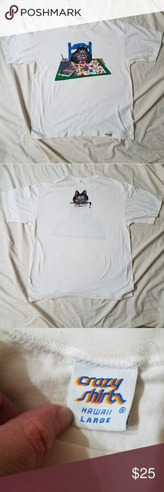 """B Kliban Cat Painting Vintage T-shirt Cat illustrated by American cartoonist B Kliban . During his life, Kliban was a cartoonist for Playboy and published books of his cat cartoons. Shirt is 100% cotton & free of holes or stains. Shirt isn't as bright white as it once was due to age. Unisex adult size large. Armpit to armpit is  23"""". Shirt is 28"""" long. Shoulder to shoulder is 21.5"""". Front and back of shirt are printed. Crazy Shirt Shirts Tees - Short Sleeve"""