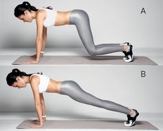 Passagem de 4 apoios para prancha  A. Em quatro apoios, com as mãos um pouco à frente da linha dos ombros e os joelhos fora do chão, abdômen contraído.  B. impulsione o corpo para a frente, estendendo as pernas e ficando em posição de prancha (o corpo deve formar uma linha reta dos ombros aos tornozelos). Segure a posição por 3 segundos e volte.  Faça 4 séries de 10 repetições